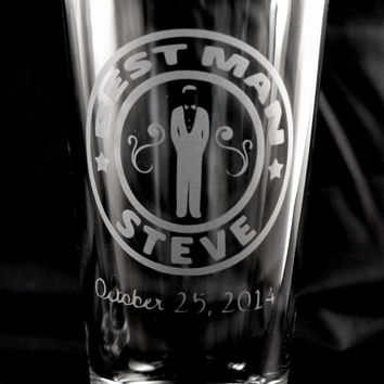 Custom Etched Wedding Party Gift Favor Glasses Best Man, Groomsman