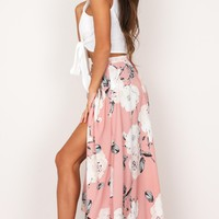 Flying On Neverland maxi skirt in dusty pink floral Produced By SHOWPO