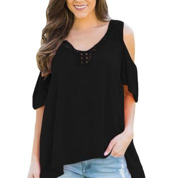 Black Crochet Neck and Back Cold Shoulder Top