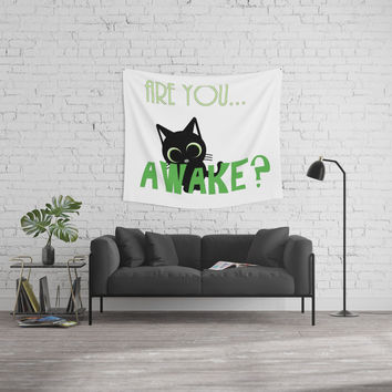 Are you AWAKE Funny cat clipart, animals lover shirt, pet person, sweet kitten, green big eyes Wall Tapestry by hmdesignspl