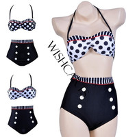 Women's Cutest Retro Swimsuit Swimwear Vintage Pin Up High Waist Bikini Set SV000185 = 1652343684