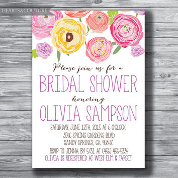 Printable, Bridal Shower Invitation, Bridal Shower Invite, Bright, Floral, floral invitation,colorful, invitation, flowers,printable,digital