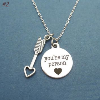 1pc You Are My Person Letter Anime Cosplay Lovers Necklace Best Friends Necklace Hot Sale Necklace BFF Valentine's Day Present