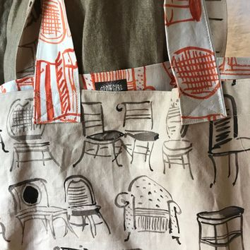 Grocery Market Tote Bag Chairs in Orange and Browm