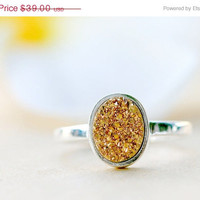 Mothers Day Sale Gold Druzy ring,Geode ring,Gemstone ring,Quartz ring,sterling ring,silver band,simple ring,agate silver,Stacking Ring,Gifts