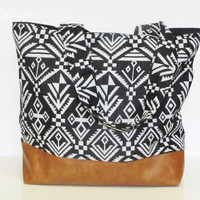 Aztec Black and White Tote with Brown Faux Leather Bottom and Black Interior - Tote Bag - Laptop bag - Diaper Bag
