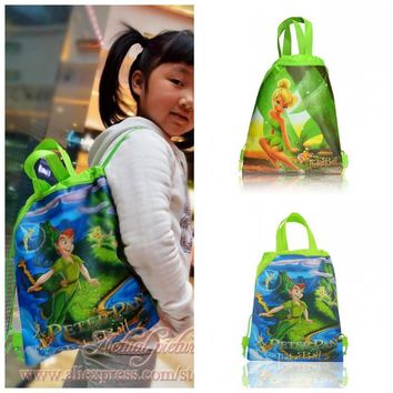 1PCS Tinker Bell Peter Pan Children Drawstring Backpacks School Shopping Bags 34*27CM Non Woven Fabrics Kids Birthday Party Gift