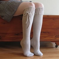 Knee High Socks Silver Lace Merino Cashmere