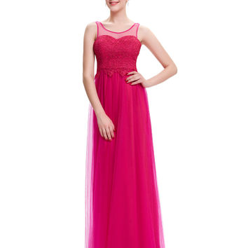 Strazz New Arrival Lace Prom Dress Galajurken 2016 Long Chiffon Ombre Dress Sexy Black/Pink/Royal Blue Wedding Party Prom Gowns - BRIDESMAID DRESSES BRIDAL GOWNS PROM