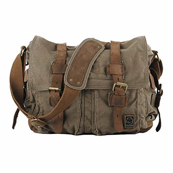Kaukko Unisex Vintage Casual Canvas Messenger Bag Shoulder Bag Cross Body Satchel