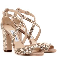Carrie 100 glitter-embellished leather sandals