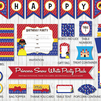 Snow White, Birthday Party Decorations, DIY Party, Girl, Princess, Cute, Brown, African, Disney, Damask, Little Girl, Instant Download