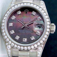 Rolex Lady President White Gold Black Mother of Pearl Diamond 179159 WATCH CHEST