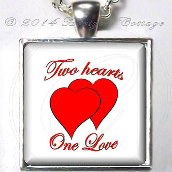 Two Hearts, One Love Original Digital Art Pendant or Key Ring - Valentine's Day, Wedding