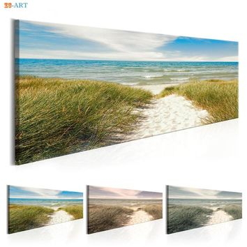 Sandy Beach Ocean Water and Grass Prints Wall Art Seascape Natural Canvas Painting for Living Room Home Decor