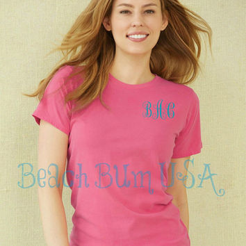 Monogram T Shirt LadiesSilhouette Comfort Colors Sorority Rush Swim Suit Cover Custom Embroidery Christmas Gift
