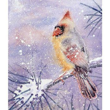 Original Watercolor Cardinal Female Bird Winter Snow by LaBerge