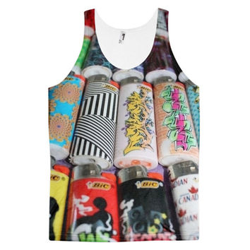 Bic'n It Bic Lighter Collage Dye Sublimation All Over Print 3D Full Print Cotton Polyester Unisex Novelty Black White Yellow & Red Tank Top