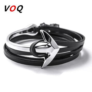 2016 Fashion Jewelry Hot Sale 76cm PU Leather Bracelet Men Anchor Charm Bracelets For Women Best Friend Gift Free Shipping H7-12