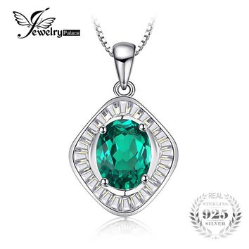 JewelryPalace Vintage 2ct Created Emerald Necklaces & Pendants 925 Sterling Silver 45cm Box Chain for Women Fashion Fine Jewelry