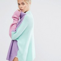 Lazy Oaf High Neck Sweater With Eyes Embroidery In Color Block at asos.com