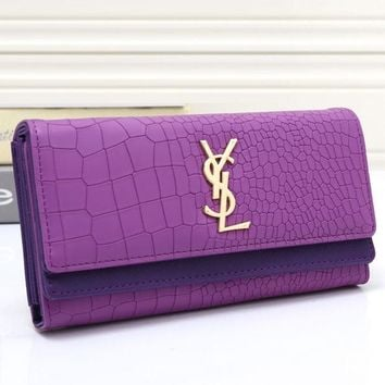 DCCKJG8 YSL Women Leather Buckle Wallet Purse