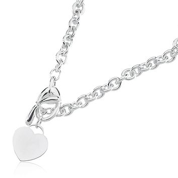 Sterling Silver Heart Toggle Necklace, 18 Inch