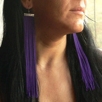 Fringe Earrings. Extra Long Earrings. Violet Earrings. Purple Earrings.