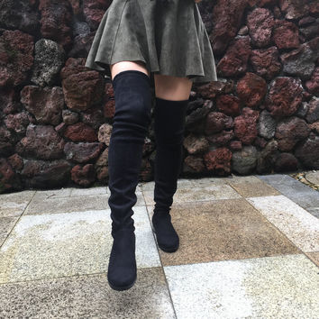 Women Stretch Suede Over the Knee Boots Flat Thigh High Boots Sexy Fashion Plus Size Shoes Woman 2016 Black Gray Winered Nude