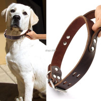 """1.5"""" width Leather Dog Collar Durable Handle for K9 Pitbull Meduim Large Dogs"""