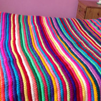 Multi Colour Crochet Afghan Blanket Throw