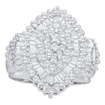 10kt White Gold Womens Round Baguette Diamond Concentric Oval Cluster Ring 1.00 Cttw