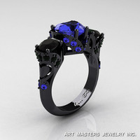 Scandinavian 14K Black Gold 2.0 Ct Heart Blue Sapphire Black Diamond Three Stone Designer Engagement Ring R434M-14KBGBDBS