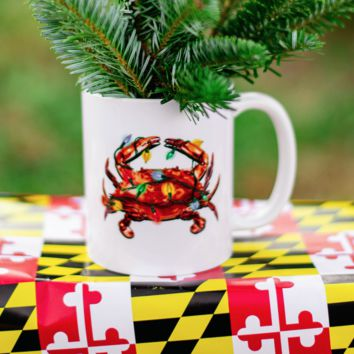 Christmas Lights Crab (White) / Mug