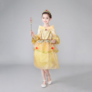 Princess Costume - Light Yellow Bubble Gown Skirt Belle Dress - 👗💘👑🎃👠