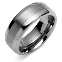 Rounded Edge Brush Finish 8mm Comfort Fit Mens Tungsten Carbide Wedding Band Ring Size 8 to 13