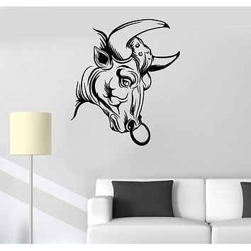 Vinyl Wall Decal Architecture Bull Head Statue Animal Stickers (3057ig)