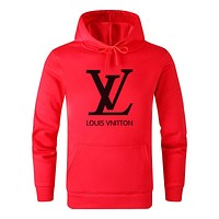 LV Louis Vuitton Autumn Winter Popular Letter Print Hoodie Sweater Top Sweatshirt Red