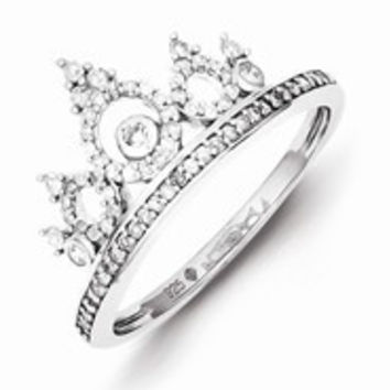 Sterling Silver w/Rhodium Plated Diamond Crown Ring