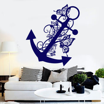 Vinyl Wall Decal Anchor Butterflies Ocean Sea Style Art Decor Stickers Unique Gift (1217ig)