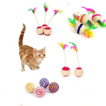 Natural Sisal Ball Toy for Cat Scottsish Fold Persian Cat Feather Ball Toys Tease Cat Sisal Toy Pet Products Drop Shipping