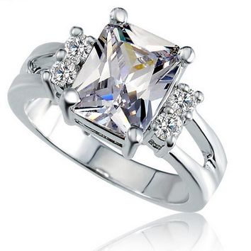 JQ Crystal Shop Brand Design Delicate Square Big Stone Austrian Crystal Engagement Ring Zircon Wedding Rings For Women