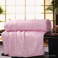 Cool 100% mulberry silk blanket/quilt/comforter for winter/summer king/queen/twin size white and pink handwork duvet fast shippingAT_93_12