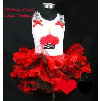 Red black tutu set - Birthday petti skirt set - Valentines day outfit - Princess birthday outfit - Lady bug coustume - Baby Girls Clothing