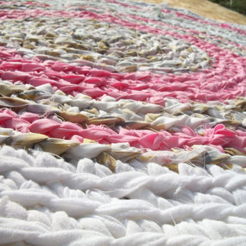 Crochet Rag Rug Pink Baby with White Print Material 3 ft in Diameter - Ready To Ship