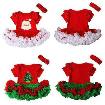 Girls Dress 2016 Christmas Girls Tutu Dress Santa Claus Christmas tree Children Clothing Vestidos Kid Party tutu dress+Hair band