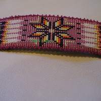 Native American Style 10 Feathers Morning star loomed barrette in Dusty Rose