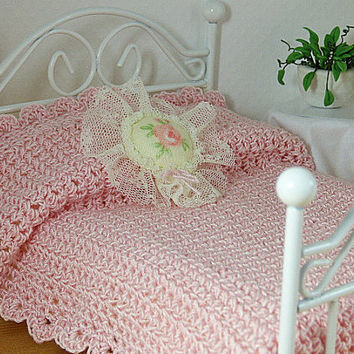 Dollhouse Bedspread Miniature 1:12 Scale Little Pink Blanket with Matching Decorator Pillows Shadowbox Bed Linen Fantasy Whimsical Fun Gift