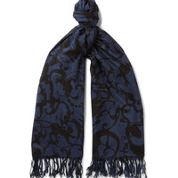 Dries Van Noten - Froster Fringed Printed Cotton and Silk-Blend Scarf