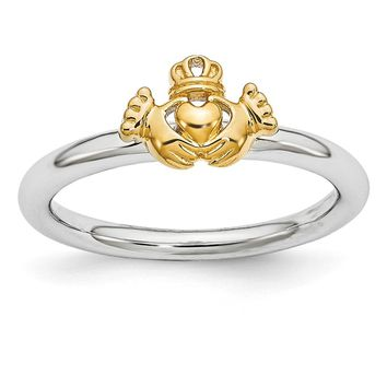 Rhodium & Gold Tone Plated Sterling Silver Stackable Claddagh Ring